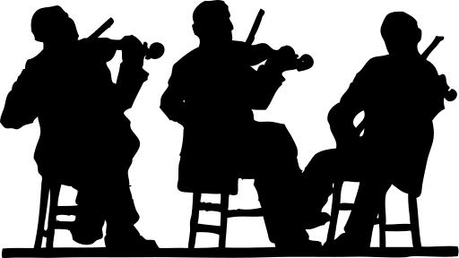 Public domain clipart: 3 fiddlers in silhouette!