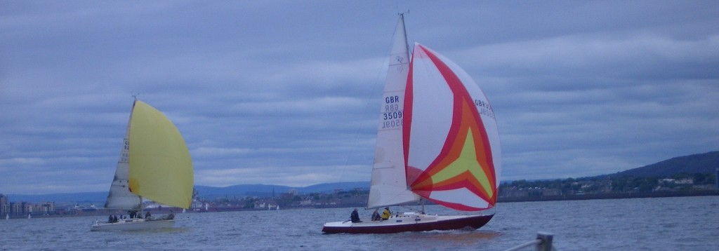 Apache and another boat with spinnakers - photo Adrian Shield
