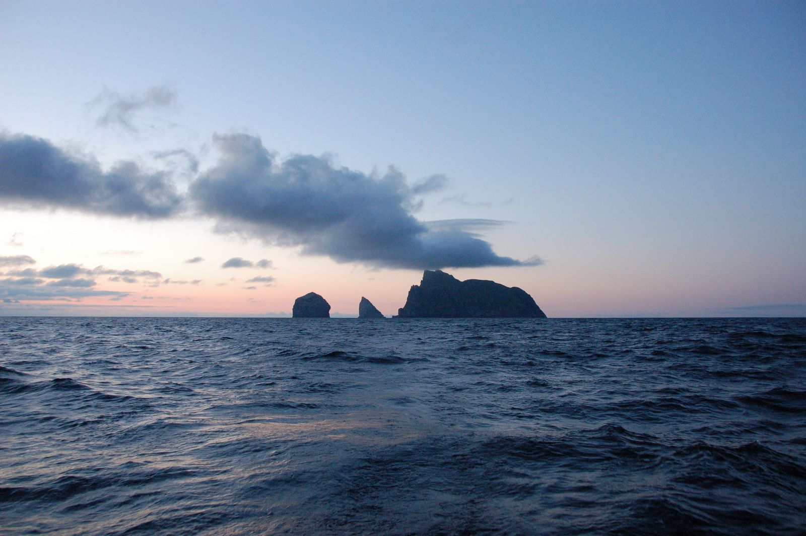 The northern St Kilda group - Stac Lee, Stac an Armin and Boreray - seen from near Village Bay. Photo by Hillary Sillitto