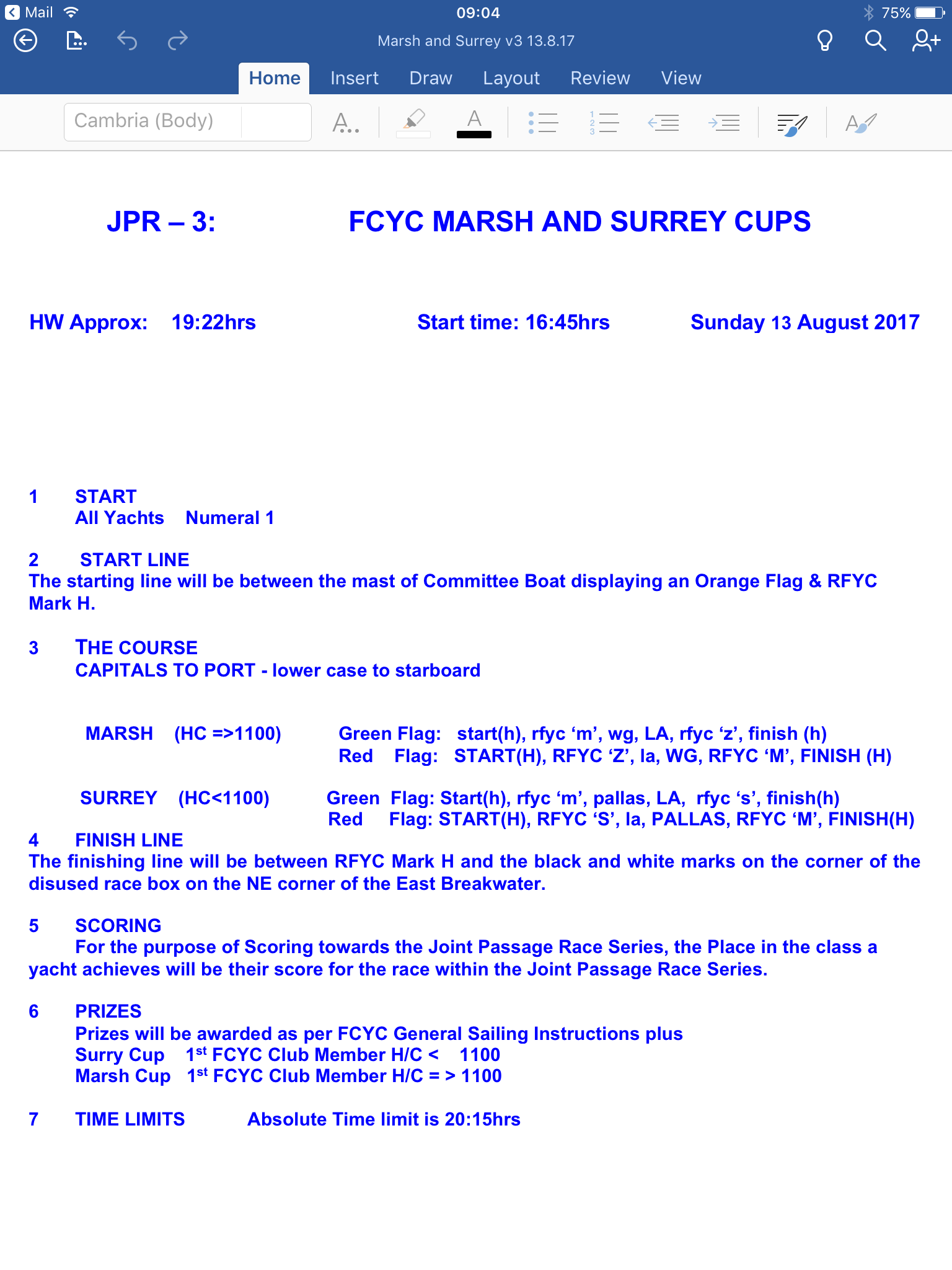 JPR-3 FCYC Marsh and Surrey cups 13 Aug NEW START TIME