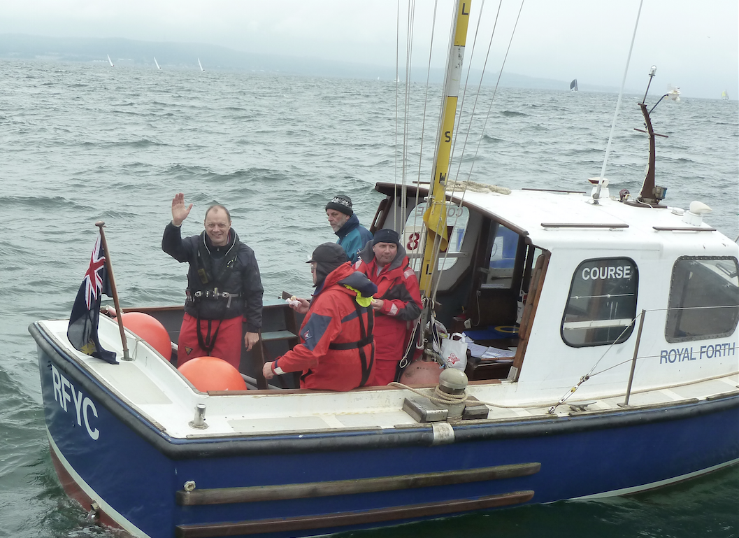 "The race officer and assistants on ""Royal Forth"" - photo Tony Clarke"