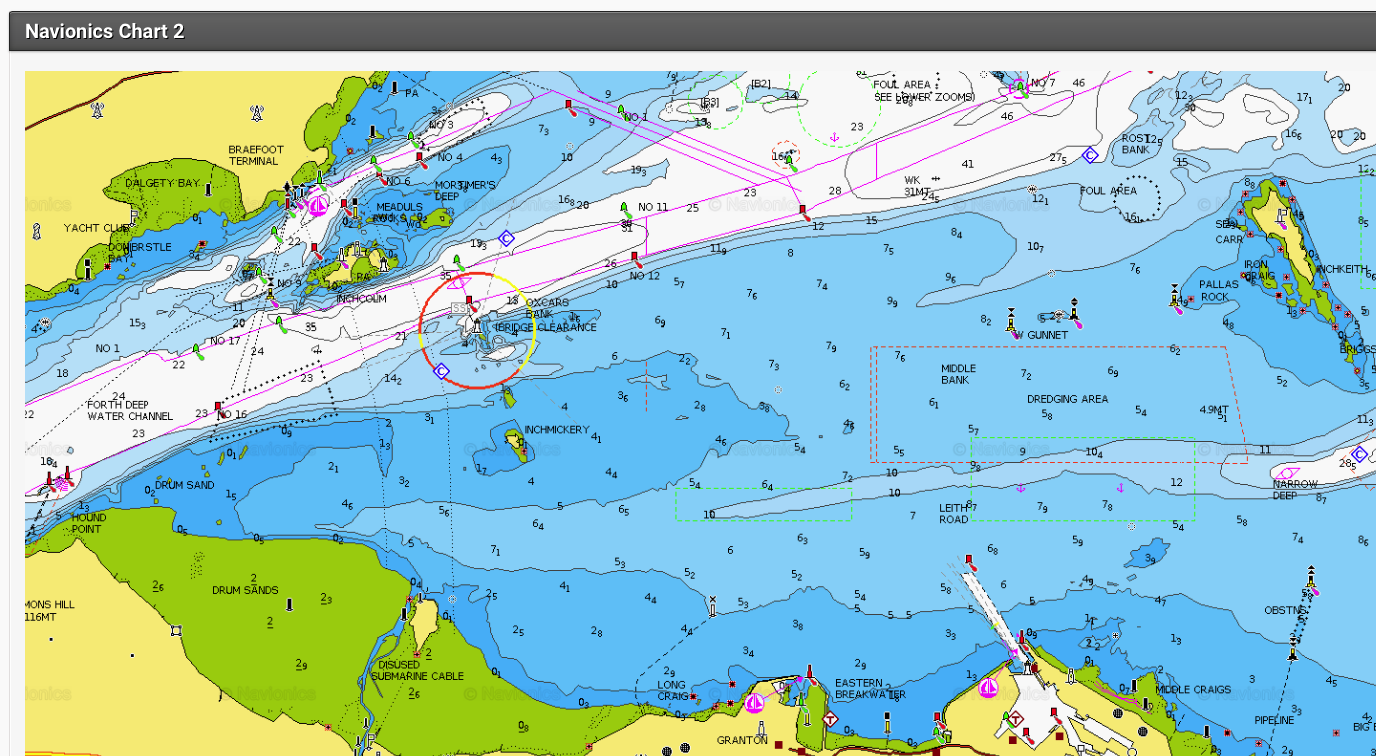 Screenshot of Navionics digital chart on our website showing Granton and our local sailing area